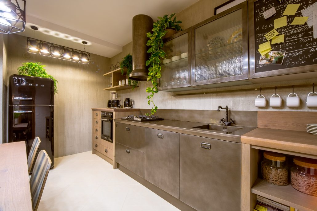 mobili cucina metallo stile industrial