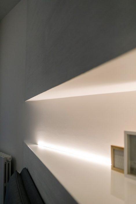 illuminazione nicchia sopra letto