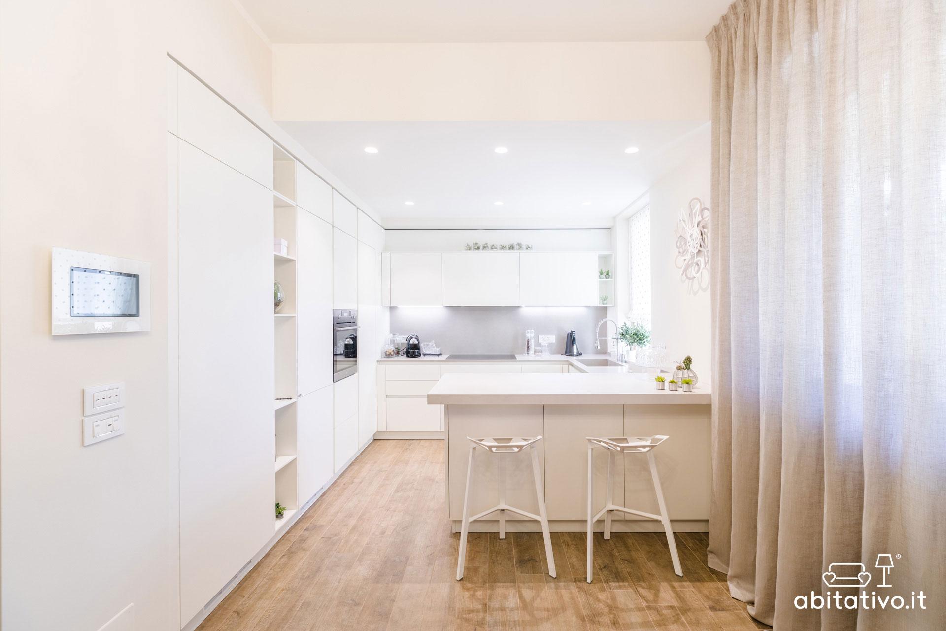 arredare cucina moderna total white