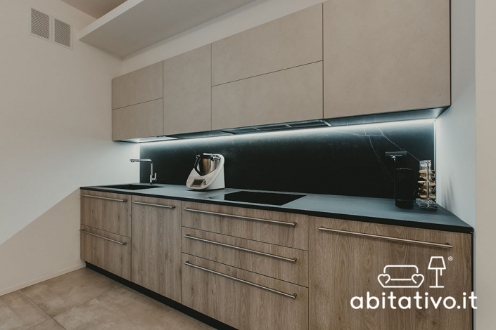cucina moderna marmo e legno