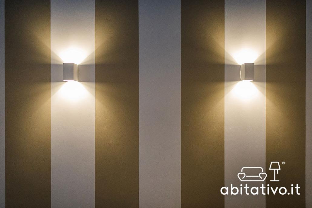 applique moderne luce sopra e sotto