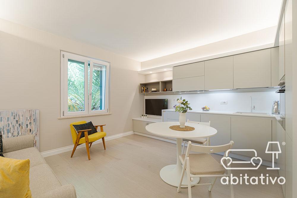 cucina soggiorno ambiente unico piccolo