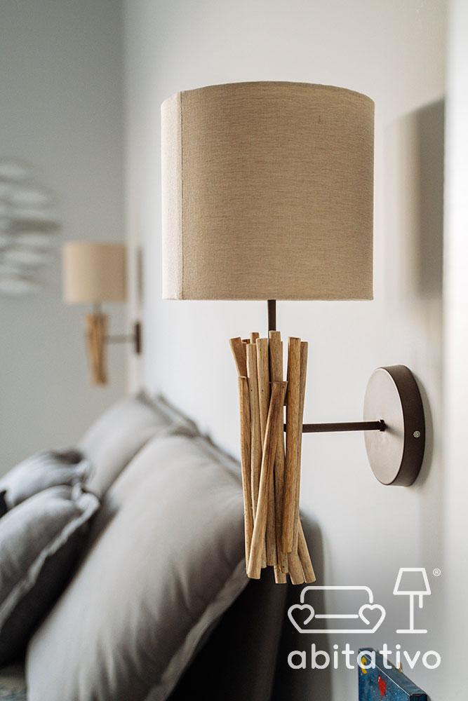 lampada comodino applique legno