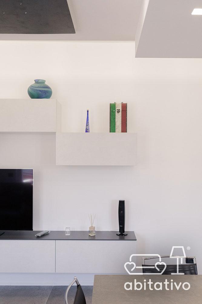 mobile bianco tv soggiorno moderno