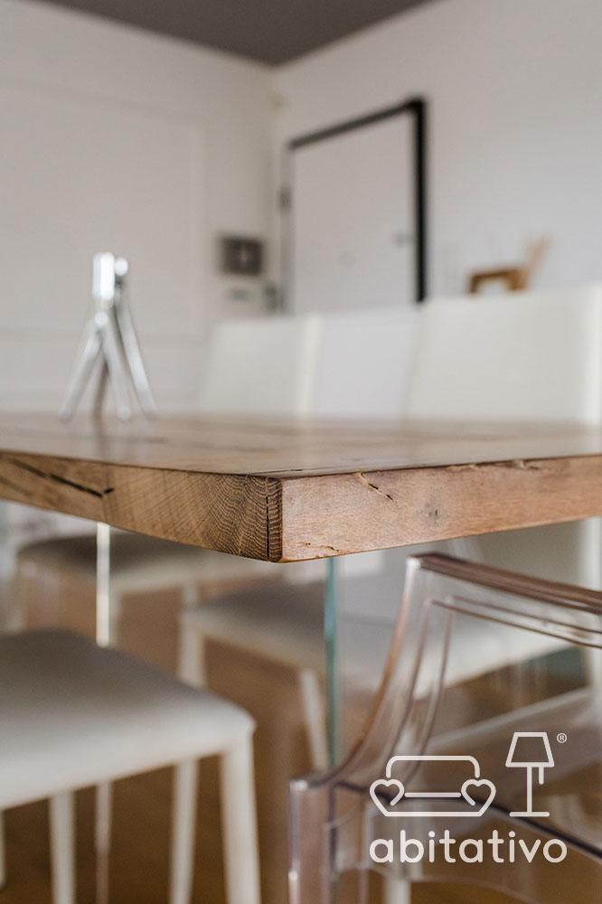 tavolo legno naturale e vetro
