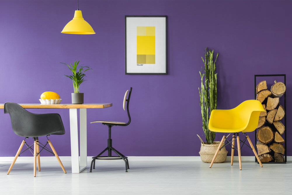 colore pareti viola