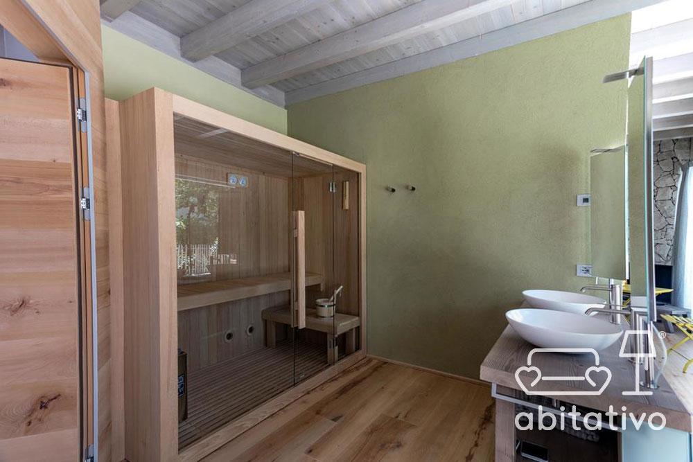 sauna legno vetro moderna