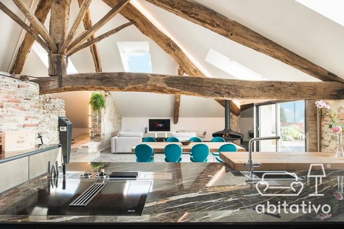 interior design villa travi di legno