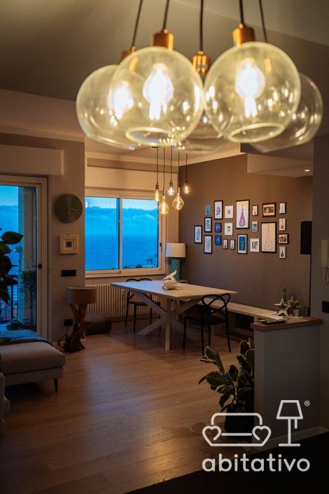 lampadario vetro soggiorno cucina