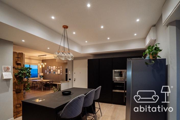 progetto illuminazione soggiorno cucina