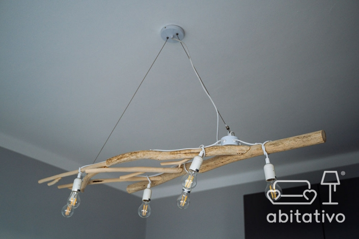 lampadario moderno legno naturale