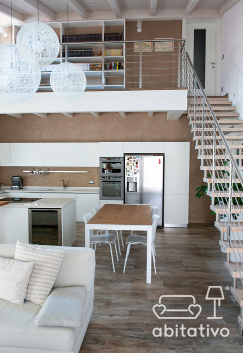 progetto interni loft soppalcato