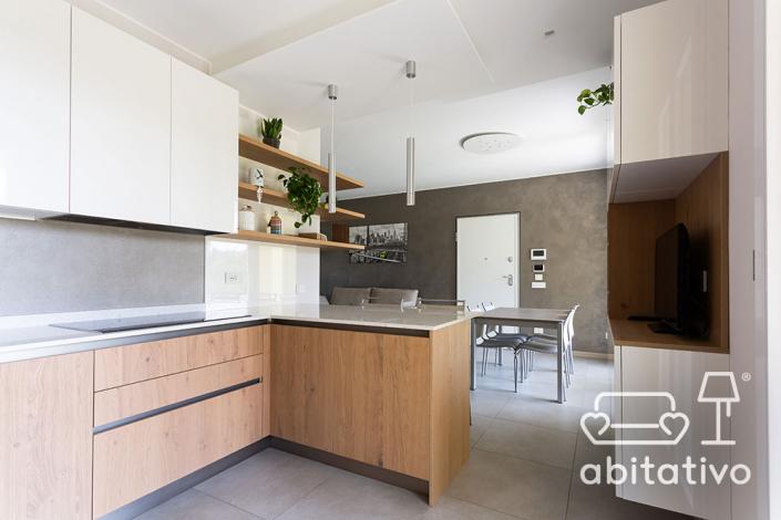 progetto cucina bianca legno