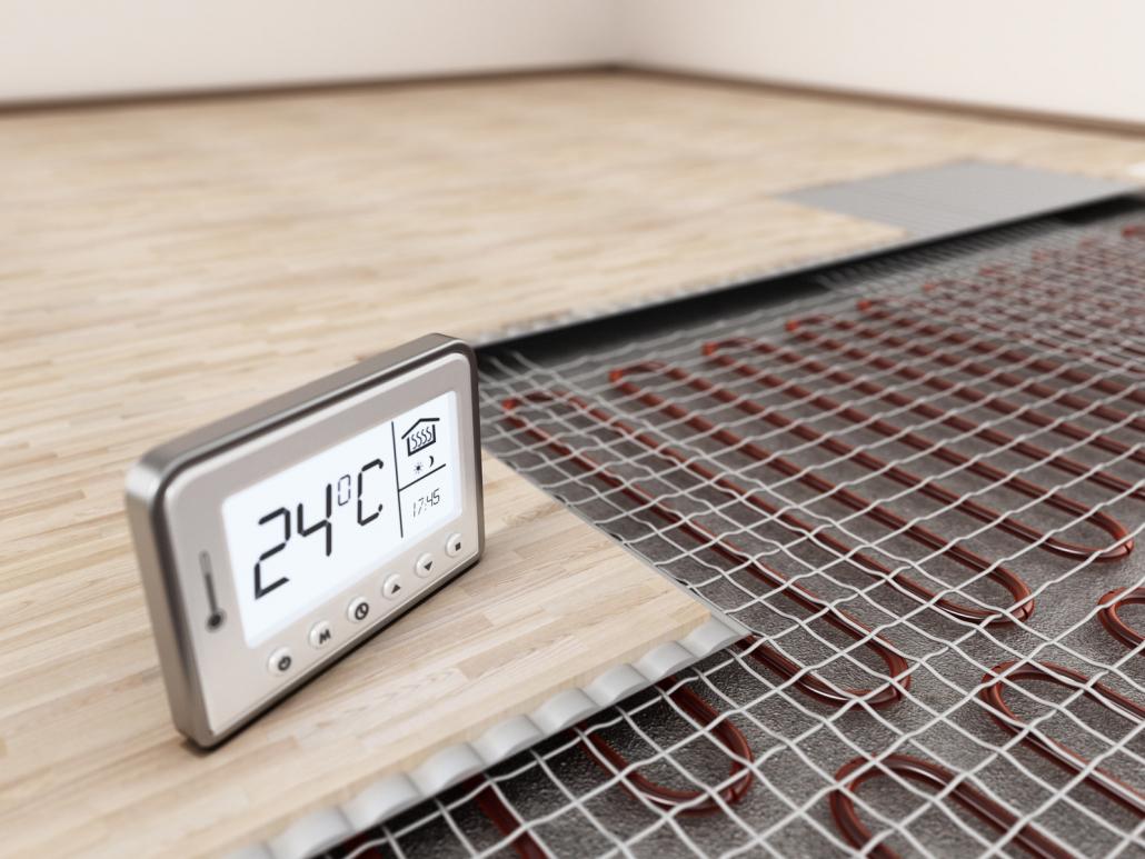 Riscaldamento a pavimento. Dimostrazione dell'installazione con temperatura della stanza