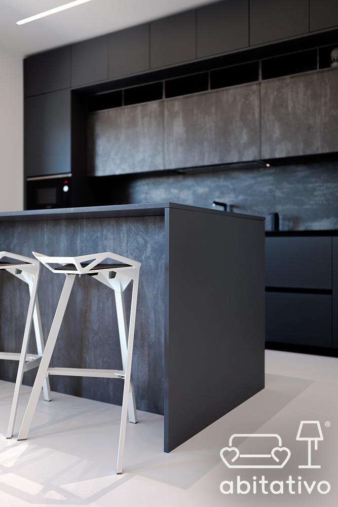 cucina scura stile minimale